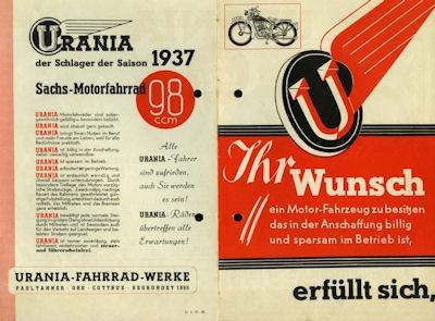 Urania Motorfahrrad Prospekt 2.1937