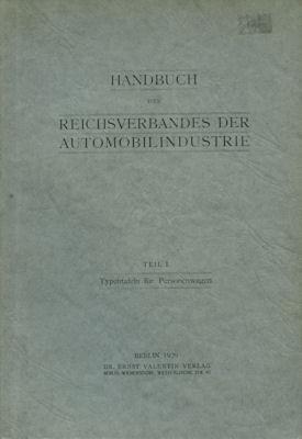 Handbuch des Reichverbandes der Automobilindustrie Teil 1 1926 Reprint