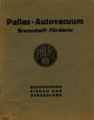Pallas Autovacuum Brennstoff Förderer 1935