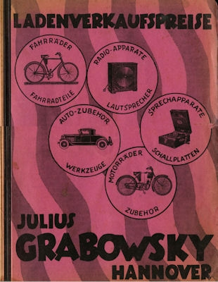 Julius Grabowsky / Hannover Fahrräder und Teile ca. 1931