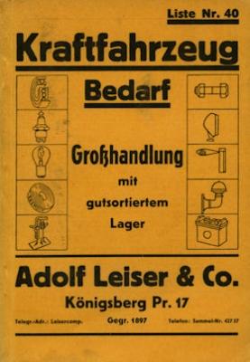 Adolf Leiser & Co Königsberg / Pr. Katalog Kraftfahrzeug Bedarf 1930er Jahre