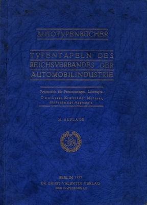 Autotypenbücher 1933 Typentafeln des Reichverbandes der Automobilindustrie