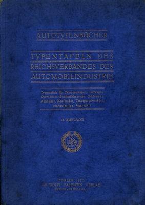 Autotypenbücher 1930 Typentafeln des Reichverbandes der Automobilindustrie