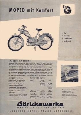 Göricke Moped und Roller Prospekt 1960er Jahre