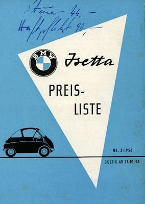 BMW Isetta Preisliste 1957
