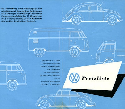 VW Preisliste 2.1957