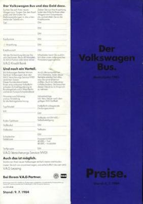 VW T 3 Bus Preisliste 1985