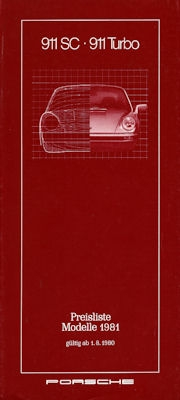 Porsche 911 Preisliste 8.1980