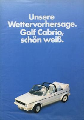 VW Golf Cabriolet I Prospekt 1980er Jahre