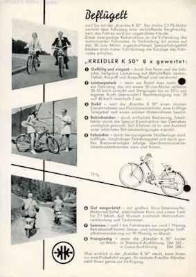 Kreidler K 50 Prospekt 12.1952
