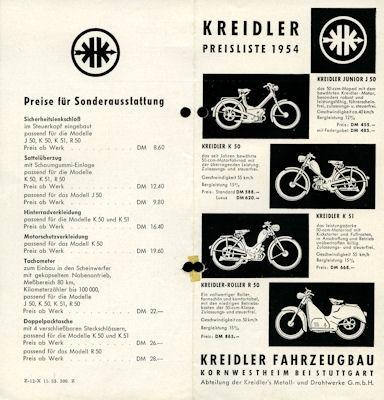 Kreidler Preisliste 1954
