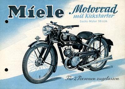 Miele Motorrad mit Kickstarter Prospekt 1952