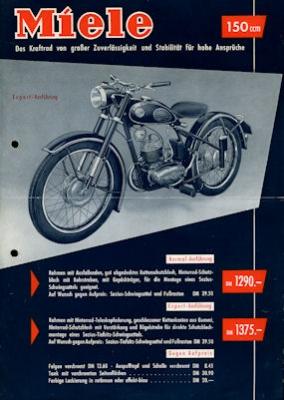 Miele 150 ccm Motorrad Prospekt 7.1953