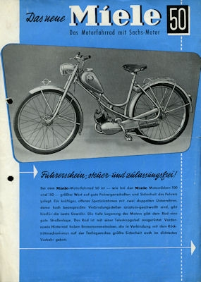 Miele Motorfahrrad Prospekt 8.1953