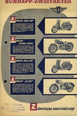 Zündapp Zweitakter Programm 1954