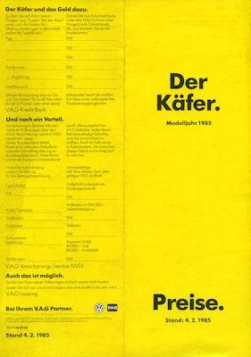 VW Käfer Preisliste 1985
