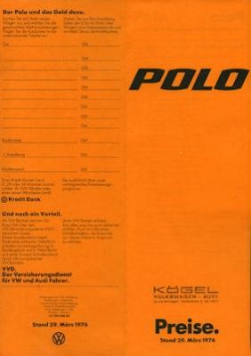 VW Polo Preisliste 1976