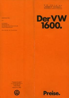 VW 1600 Preisliste 1973