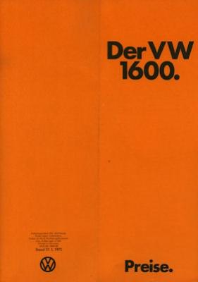 VW 1600 Preisliste 1972