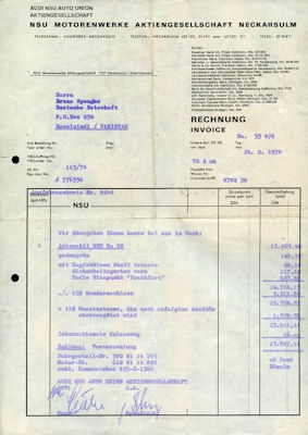 NSU Brief 1971