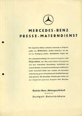 Mercedes-Benz Presse Materndienst ca. 1938