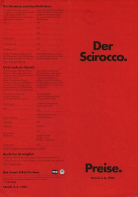 VW Scirocco Preisliste 8.1982