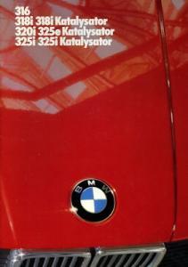 BMW 316 318i 318i Kat 320i 325e Kat 325i 325i Kat Prospekt 1986