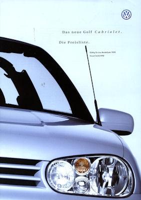 VW Golf 4 Cabriolet Preisliste 1999