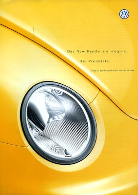 VW New Beetle en Vogue Preisliste 7.2001