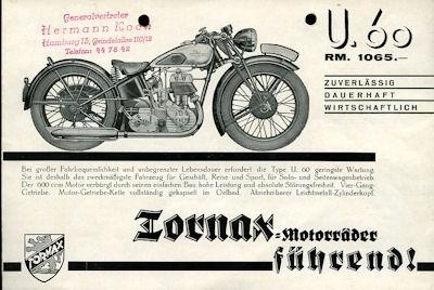 Tornax U 60 / S 60 Prospekt 1930er Jahre
