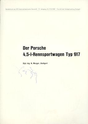 Porsche 4,5 Ltr. Rennsportwagen Typ 917 Test ATZ 1970