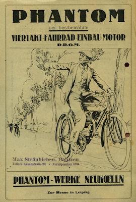 Phantom Viertakt Fahrrad Leicht Motor Prospekt 1922