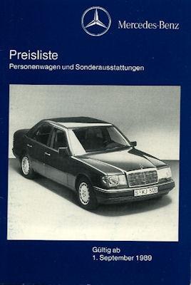 Mercedes-Benz Preisliste 9.1989