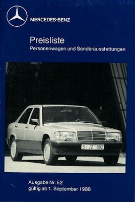 Mercedes-Benz Preisliste 9.1988