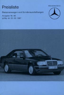 Mercedes-Benz Preisliste 3.1987