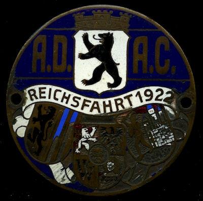 ADAC Plakette Reichsfahrt 1922