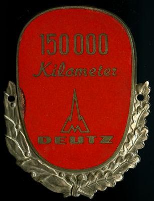 Plakette 150 000 km Deutz 1950er Jahre