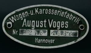 August Voges / Hannover Typenschild 1936