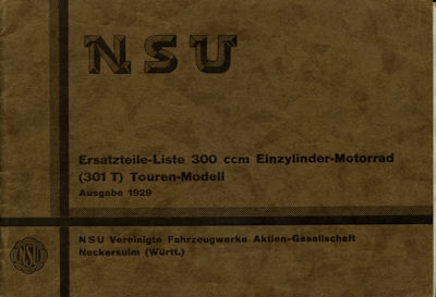 NSU 301 T Ersatzteilliste 1929