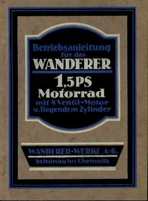 Wanderer 1,5 PS Bedienungsanleitung 1926