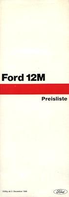 Ford 12 M Preisliste 1970