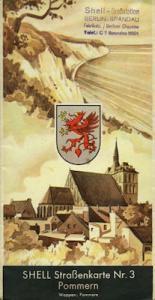 Shell Straßenkarte 3 Pommern 1930er Jahre