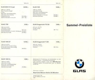 BMW / Glas Preisliste 8.1967