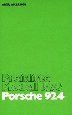 Porsche 924 Preisliste 1976