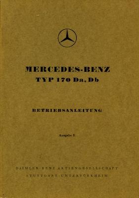 Mercedes-Benz 170 Da Db Bedienungsanleitung 1953