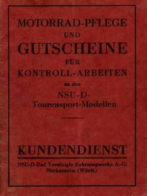 NSU Kundendienstheft für Tourensport-Modelle 1936