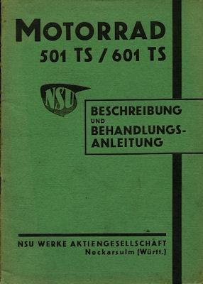 NSU 501 TS u. 601 TS Bedienungsanleitung 1938