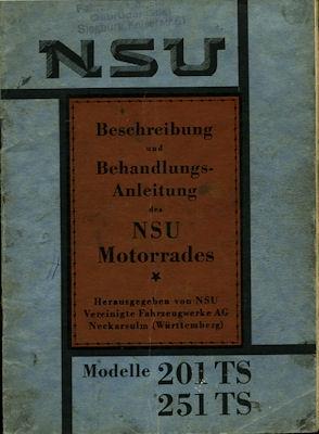 NSU 201 TS u. 251 TS Bedienungsanleitung 1932