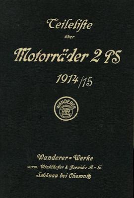 Wanderer Motorrad 4 PS Ersatzteilliste 1914/1915