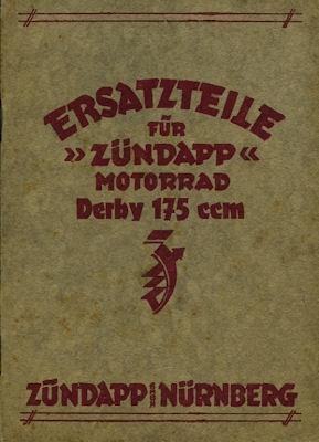 Zündapp Derby 175 ccm Ersatzteilliste ca. 1933